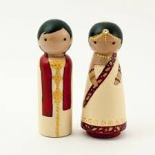 indian wedding cake toppers personalized cake toppers indian wedding clothespin peg dolls