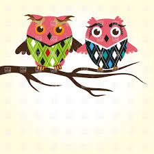 two owls sitting on the tree branch and a lot of copyspace