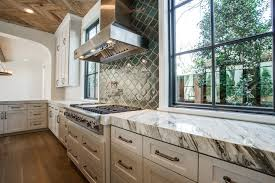 Arabesque Tile Backsplash Contemporary Kitchen Tatum Brown - Custom stainless steel backsplash
