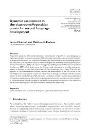 dynamic assessment in the classroom vygotskian praxis for second