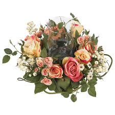rose candelabrum silk flower arrangement nearly natural