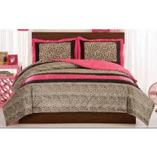Leopard King Size Comforter Set Pink And Brown Leopard Print Animal Bedding Comforter Set