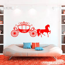 online get cheap wall stickers for girl room horse aliexpress princess cinderella horse carriage vinyl decals nursery wall art girl gift custom girls name sticker for kids room decor