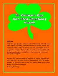st patrick u0027s day math puzzle algebra one step equations by the