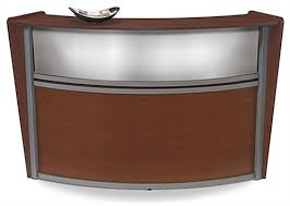 Wooden Reception Desk Cherry Single Curved Unit