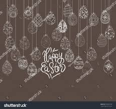 hanging easter eggs ornament card stock vector 593935109