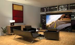 alluring home movie theater room design with red sofa and wall
