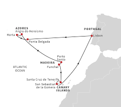Azores Map Cruise From Lisbon To The Azores Madeira And Canary Islands