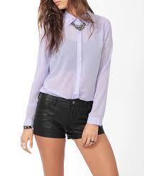 lavender blouses lyst forever 21 studded collar blouse in purple