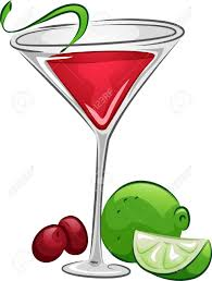 martini cosmopolitan illustration of a cosmopolitan drink with lime and cranberries