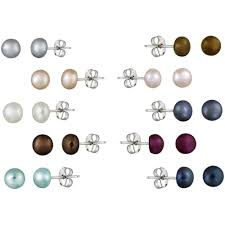 earring stud set 5 5 5mm freshwater cultured pearl sterling silver multi color stud