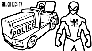 color small police cars w superheroes spiderman coloring pages