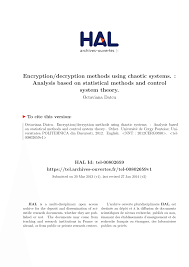 encryption decryption methods using chaotic systems analysis