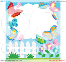 cartoon of a cloud frame with butterflies over flowers and a fence
