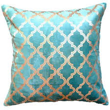 teal gold foil chenille pillow