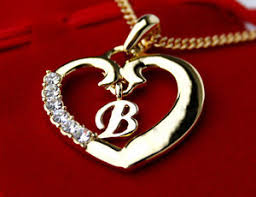 heart necklace gold plated images Heart necklace pendant letter b 18ct gold plated birthday jpg