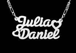 Silver Name Necklace Silver Name Necklace Model Julia Daniel