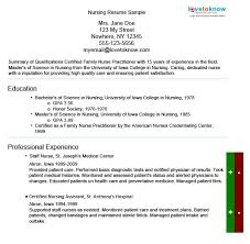 Sample Staff Nurse Resume by Sample Of A Nursing Resume