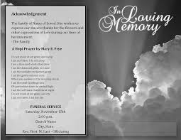 Free Funeral Programs Best Photos Of Acknowledgements For Funeral Programs Sample