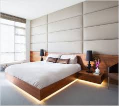 modern bedroom design ideas with cool floating bed frame and white