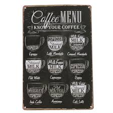 coffee menu vintage tin sign bar pub cafe home wall decor retro
