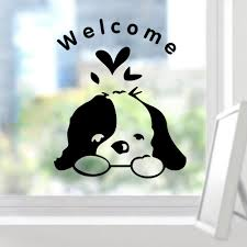 Home Decoration Online Shop Welcome Kids Room Cute Dog Door Funny Wall Sticker Home Decoration