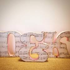 free standing wood letters music theme music gifts stand alone