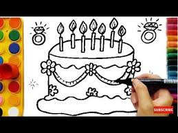 learning colors kids drawing cake coloring pages fruits