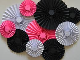 white paper fans pink black and white rosettes paper fans pinwheels