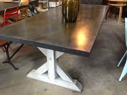 two tone trestle table dark stain top whitewash legs current