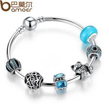heart charm bangle bracelet images Buy bamoer silver charm bangle with bear animal jpg