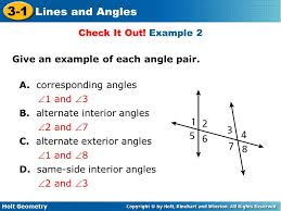 Example Of Alternate Interior Angles Holt Geometry 3 1 Lines And Angles Holt Geometry 3 1 Lines And