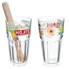 bicchieri vetro set 2 bicchieri multicolore da mojito in vetro maisons du monde