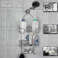 shower caddy chrome organiser bath shelf shelves storage rack hang hoo