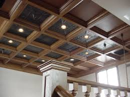 ceiling in loft with tin panels woodgrid coffered ceilings