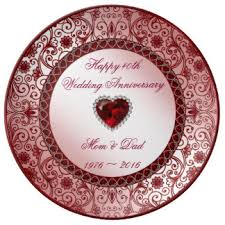 40th anniversary color custom wedding anniversary porcelain plates
