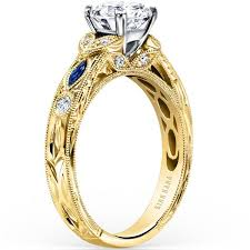 engagement rings yellow gold kirk kara 14k yellow gold blue sapphire engagement ring