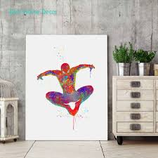 how to hang art prints without frames spiderman art print original watercolor spider man poster the