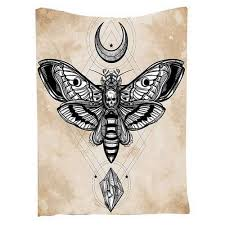 skull butterfly mandala moon blanket fly everything