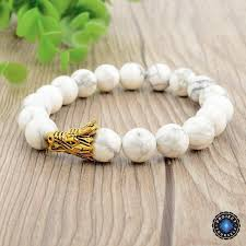 beaded bracelet charms images Natural white turquoise beads dragon charm bracelet project yourself jpg