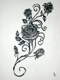 black and grey roses vine design by