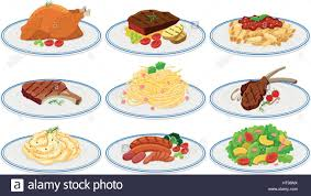 cuisine types different types of food on the plates illustration stock vector
