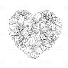 unique drawings of roses and hearts vector image vector art library