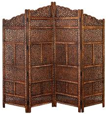 wood carved panel screen room divider 4 asian folding antique long