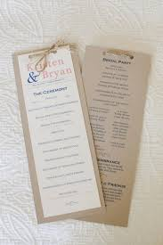 wedding program ideas diy wedding program but would add a different type of ribbon to the