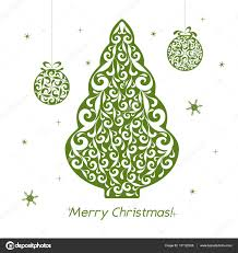 christmas openwork green paper card stencil design with tree