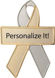custom awareness ribbons silver and gold custom awareness ribbons lapel pins