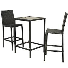 Wicker Bistro Table And Chairs Outsunny 3pc Outdoor Rattan Wicker Patio Dining Set
