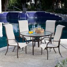 5 Piece Patio Furniture Dining Set With Round Table And 4 Padded