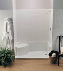 bathroom shower floor ideas white acrylic shower base with seat 48 x 34 plus cream wall tile